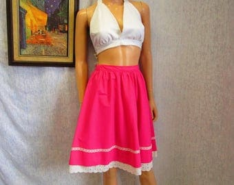 """70s S 25"""" A Line Cotton & Lace Prairie SKIRT Hot Pink"""