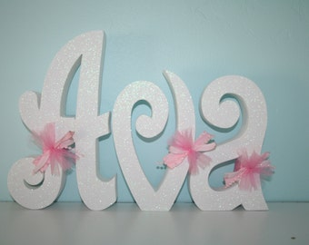 Custom wood letters, White, 3 letter set, Teen room decor, Hanging letters, Girls room decor, Nursery wall letters, Name sign, Wood letters
