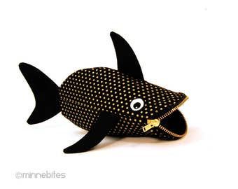 Cute Crayon Pouch - Black Gold Fish Purse - Child Travel Kit - Baby Shark Toy Bag - Organizer Planner Pouch - Marker Holder - Cute Wristlet