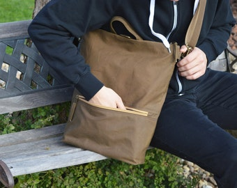 Vegan Waxed Canvas Backpack, Toffee Minimalist Rucksack, Convertible Waterproof Laptop Carrier, available in two sizes,  Christmas Gift