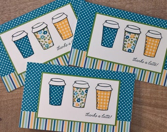 Coffee Gift Card Holder, Thanks a Latte Card, Gift Card Envelope, Teacher Appreciation Gift, Coffee Lover Gift