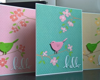 Blank Cards Set of 3, Spring Thank You Cards, Hello Cards, Floral Greeting Cards Set, Any Occasion Cards, Bird Cards Set, Easter Card Set
