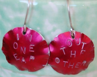One One Ear - Out The Other Red Aluminum Earrings