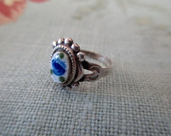 vintage guilloche sterling silver ring - enameled, blue rose, floral, romantic, size 5