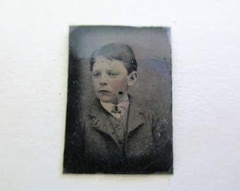 antique miniature gem tintype photo - 1800s, young boy, rosy creeks