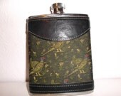 Vintage English Flask Leather and Tapestry Wrapped Pocket Hip Flask
