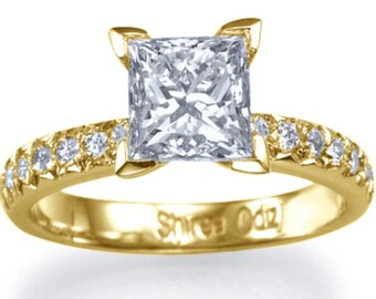 Solitaire Ring Princess Diamond Ring 1.25 CT Enhanced Natural Diamond Engagement Ring G SI1 18K Yellow Gold Ring Size 5.75 Jewelry