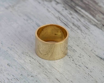 Plain 14K Yellow Gold Wedding Band - Wide Solid Yellow Gold Size 7.5 Plain Band Gift For Her Handmade