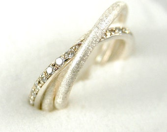 Fine Jewelry. Russian Wedding Ring. Handmade Engagement Ring. Sterling Silver Trinity Ring with Zirconia