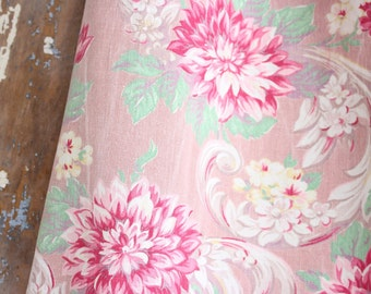 Soft Timeworn 1940s Pink and Aqua Floral Pattern Vintage Fabric