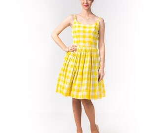 1950's Yellow Gingham Sundress / 50's Plaid Cotton Summer Dress