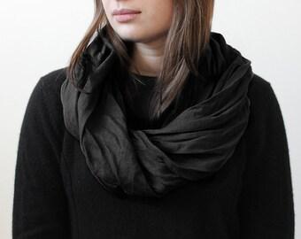 Black scarf, Linen infinity scarf, Black infinity scarf, Unisex scarf, Black scarf for men , Black women scarf, Black linen scarf