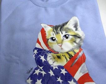 Patriotic Kitty -  GILDAN Fleece Crew Neck Sweatshirt