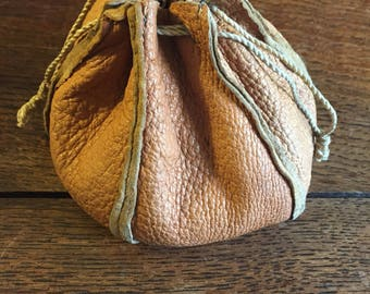 Leather bag of marbles