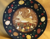Primitive Easter Folk Art Painting on Wood Plate, Spring Bunny Leaping Over Easter Eggs, Tulips, Flowers in Moonlight, MADE TO ORDER