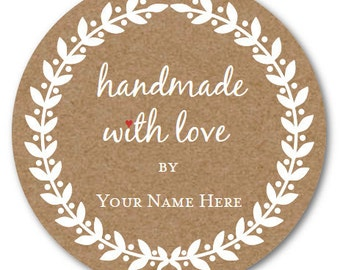 Handmade with LOVE Stickers, Custom Circle Sticker, Custom Jar Label Set of 24