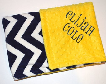 Monogrammed Minky Baby Blanket -  Navy Blue Chevron and Bright Yellow, Zig Zag Blanket with name, Blue and Gold Newborn