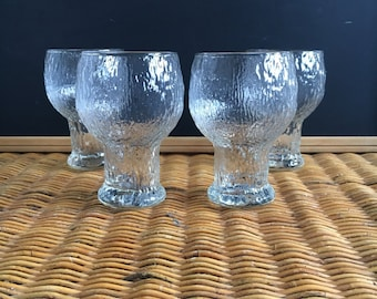 Vintage Set of Indiana/ Jeanette Glass Crystal Ice Tree Bark Beer Glasses Tumblers