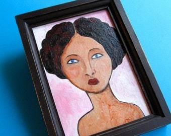 50% Off Sale Original Painting - Girl with Lavender Eyes - Ready To Hang - Small Painting Framed 6x8