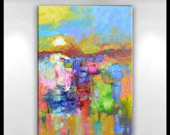 """Large Original Abstract Landscape Oil Painting    24 x 36 -"""" Morning Bright""""- by Claire McElveen"""