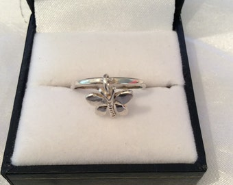 Authentic Vintage Sterling Silver 925 Butterfly Dangle, Drop Ring, FREE POSTAGE, BIRTHDAY