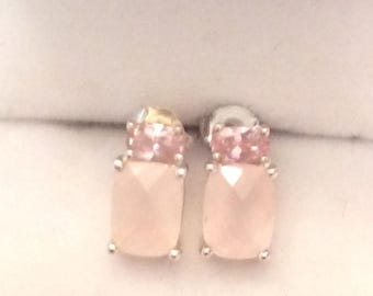 Authentic Vintage STERLING SILVER Pink SAPPHIRE, Pink Quartz, Stud Earrings, Wedding, Bride, Bridesmaid, Birthday,Prom,Free Postage