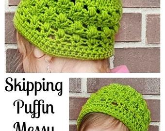 Skipping Puffin Messy Bun Hat Crochet Pattern