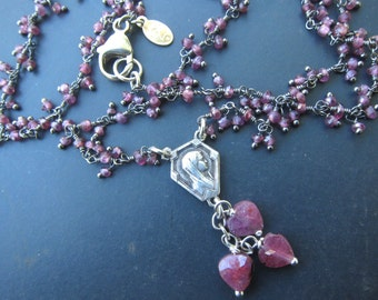 Vintage Religious Charm Necklace on Garnet, Silver Necklace, Garnet Necklace, Religious Jewelry