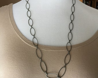 Oval Gunmetal chain necklace simple yet very pretty long length
