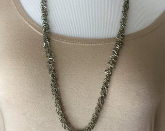 Square links Long fancy silver chain necklace one of a kind