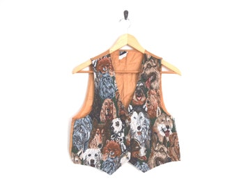 90s Hipster Vest. Woven Dog Print Top. Unisex Mens Vintage. Ironic Shirt Vest.