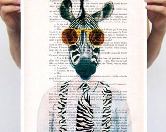 Zebra with sunglasses, Zebra Print, illustration digital portrait painting mixed media Animal wall art wall decor wall hanging drawing