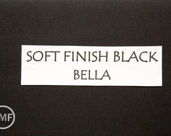 One Yard Soft Finish Black Bella Cotton Solid Fabric from Moda, 9900 199