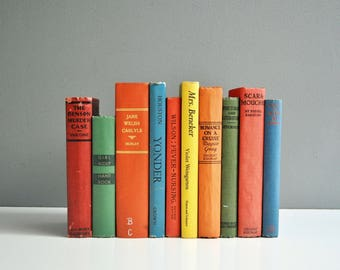 Vintage Rainbow Colored Book Collection