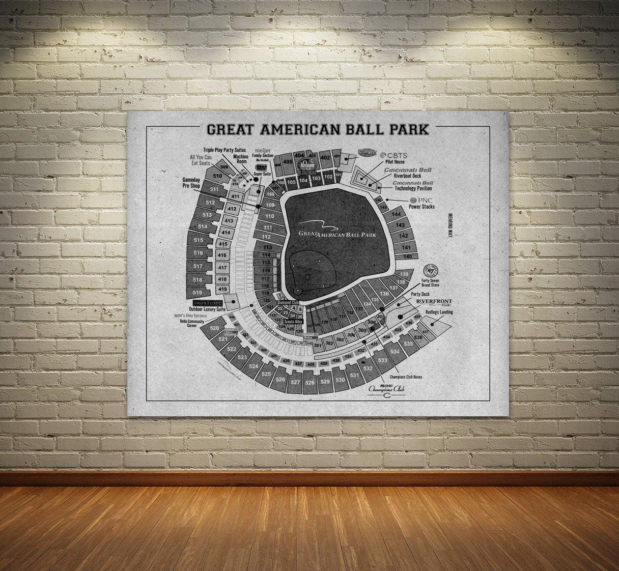 Print of vintage great american ball park cincinnati reds for 12x15 calculator