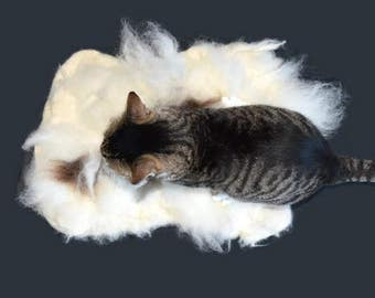 Cruelty Free, Cat Bed, Liner, Felted Wool Fleece, Pet Bed, Jacob , Ethical Sheepskin, Dog Mat, Sheep Friendly, Virgin Fleece, Ready to Ship