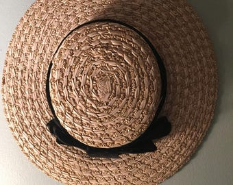 Antique Vintage Little girls Adorable straw Boater type hat cute for wear or display
