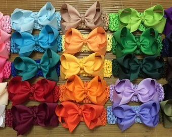"Set of 25 - 4"" Hair bows crochet headbands, waffle newborn baby headband, elastic baby headbands, bows headband, Crochet Headbands 1.5 inch"