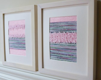 Set of 2: Fiber original drawing wall art - pastel lilac & pink
