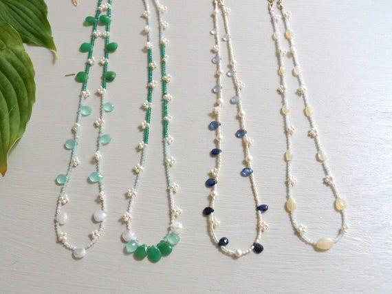 Delicate green gemstone necklace