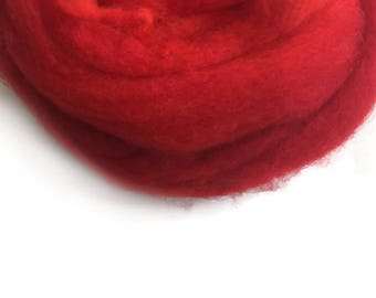 Red wool roving Wool for Felting  50gr- 1.76 oz  U 80 048