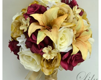 """17 Pieces Package Silk Flower Wedding Decoration Bridal Bouquet BURGUNDY CREAM Ivory """"Lily Of Angeles"""" BUCR01"""