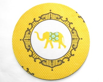 Mouse Pad - Round Fabric mousepad - Yellow Elephant - Home office computer - Hot pad