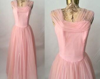 Vintage Dress, Pink 1950s Dress, 1950s Vintage Gown, Vintage Prom Dress, Pink Wedding Dress, Emma Domb, 50s Prom Dress, Retro 50s Pink Gown