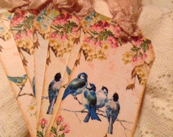 Blue Birds on a branch and Shabby Floral Hang Tags Labels Gift Tags with Cream Hand Crinkled Seam Binding Set of 6