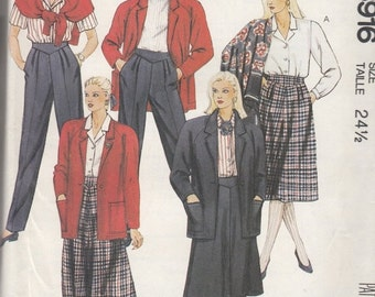 "CLEARANCE Plus Size Top Skirt Pants and Unlined Jacket McCall's 3916 Sewing Pattern Women's Clothes Size 24.5 Bust 47"" UNCUT"
