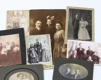 Vintage Photos, Antique Photos of Families and Couples, Victorian Photos, 8 Vintage  Cabinet Cards