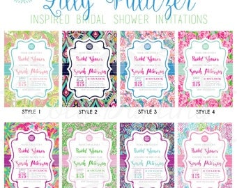 Monogram Lilly Pulitzer Inspired Bridal Shower Invitation
