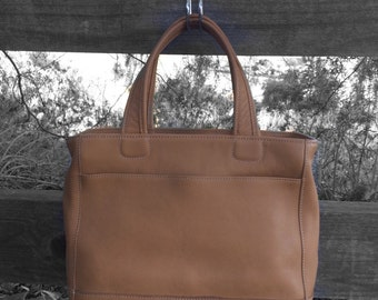 Coach Smooth Soft Tan Leather Top Handle Purse