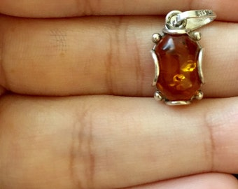 Amber and 925 Sterling Silver Pendant